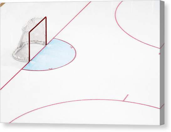 Ice Hockey Goal Net And Empty Rink Canvas Print