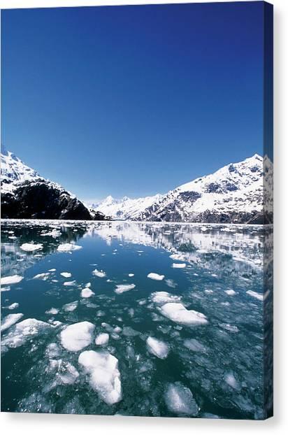 Ice Melting On John Hopkins Glacier Canvas Print by Medioimages/photodisc