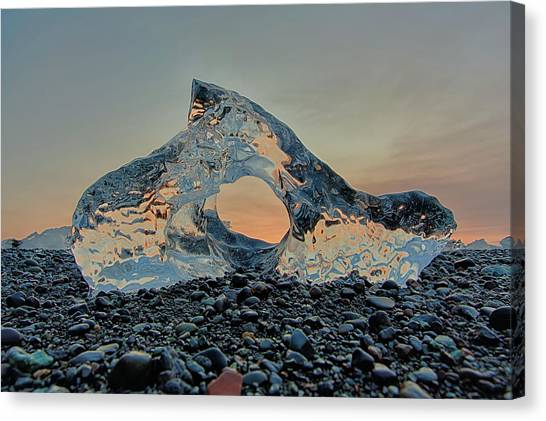 Canvas Print featuring the photograph Iceland Diamond Beach Abstract  Ice by Nathan Bush