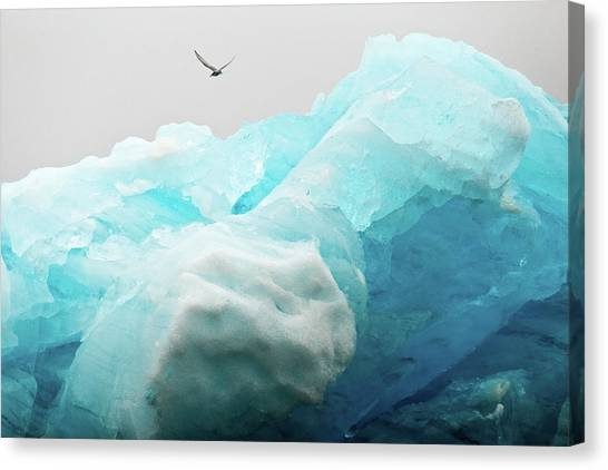 Canvas Print featuring the photograph Iceland Iceberg by Nicole Young
