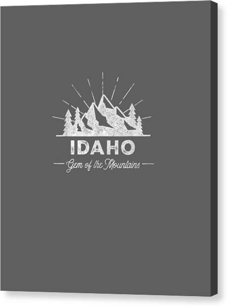 T Shirts Canvas Print - Idaho T Shirt Vintage Hiking Retro Tee Design by Unique Tees