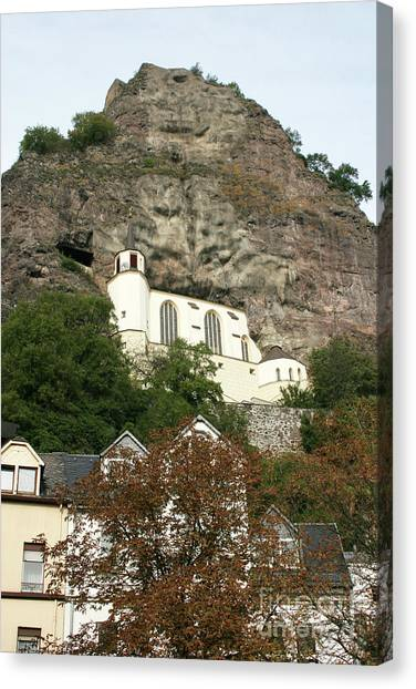 Canvas Print featuring the photograph Idar-oberstein Felsenkirche by PJ Boylan