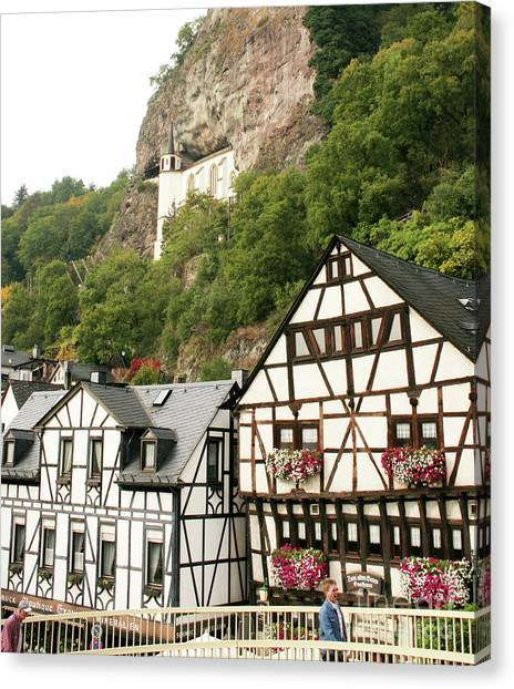 Canvas Print featuring the photograph Idar-oberstein-view On A Bridge by PJ Boylan
