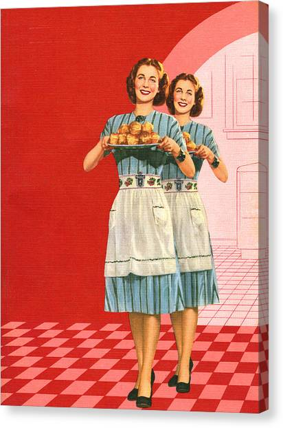 Identical Women Serving Rolls Canvas Print