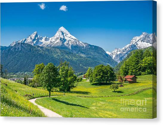 Rolling Hills Canvas Print - Idyllic Summer Landscape In The Alps by Canadastock