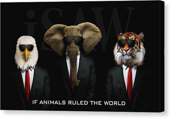 Canvas Print featuring the digital art If Animals Ruled The World by ISAW Company