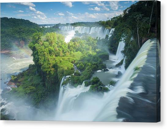 Igauzu Falls In Argentina Canvas Print by Grant Ordelheide