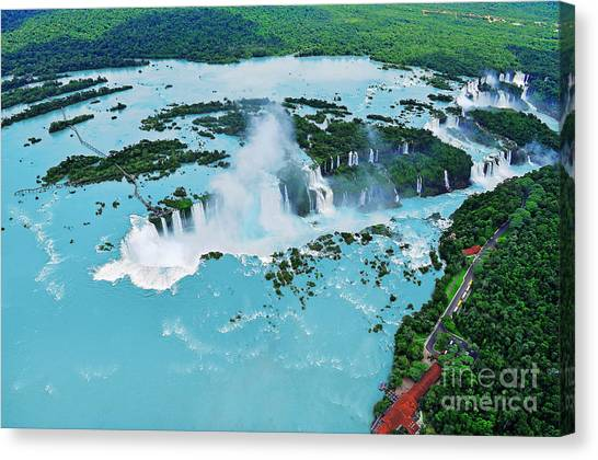 South American Canvas Print - Iguazu Waterfalls From Helicopter by Elena Odareeva