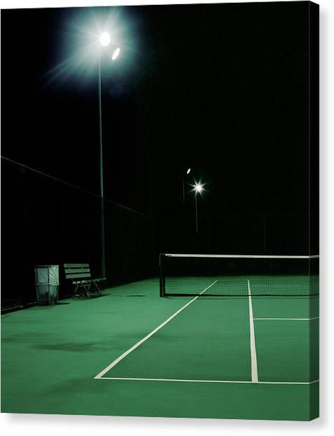 Illuminated Tennis Court, Night Canvas Print