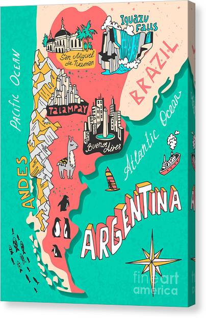 Compass Canvas Print - Illustrated Map Of Argentina. Travel by Daria i