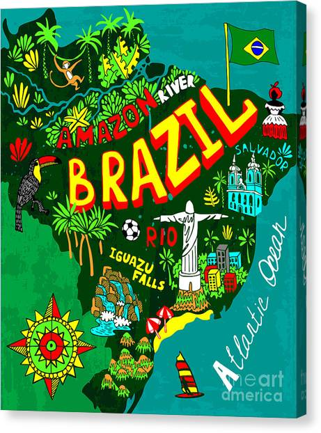Compass Canvas Print - Illustrated Map Of Brazil by Daria i