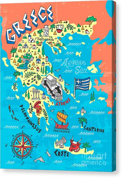 Compass Canvas Print - Illustrated Map Of Greece. Travels by Daria i