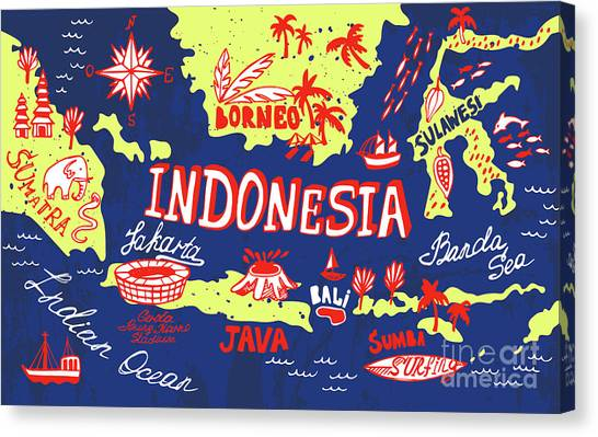 Compass Canvas Print - Illustrated Map Of Indonesia by Daria i