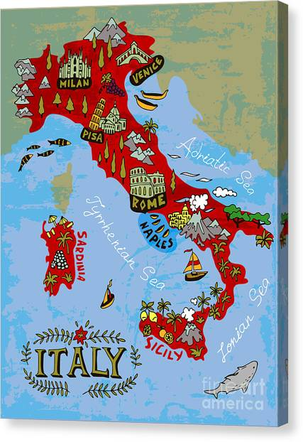 Compass Canvas Print - Illustrated Map Of Italy. Travel by Daria i