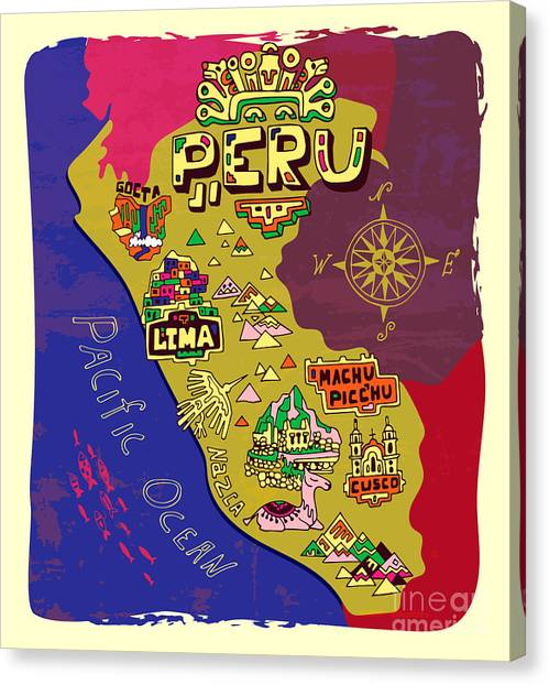 Compass Canvas Print - Illustrated Map Of Peru. Travel by Daria i
