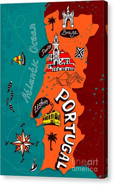 Compass Canvas Print - Illustrated Map Of Portugal by Daria i