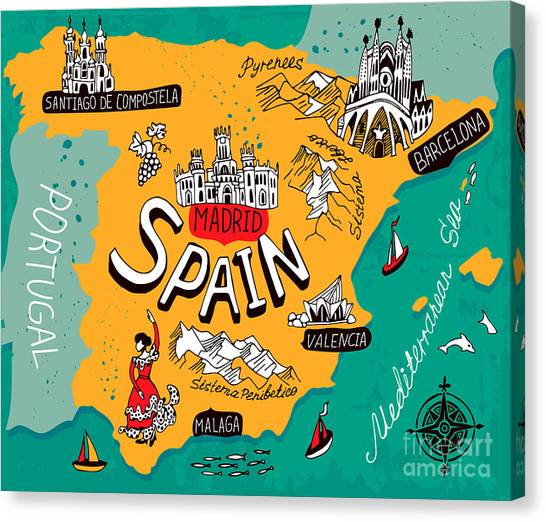 Compass Canvas Print - Illustrated Map Of Spain by Daria i