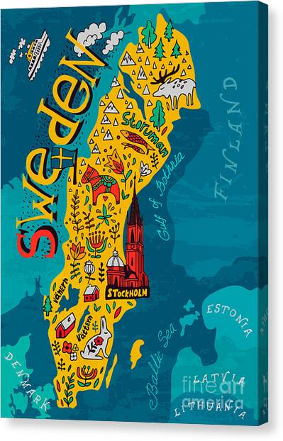 Elk Canvas Print - Illustrated Map Of Sweden by Daria i