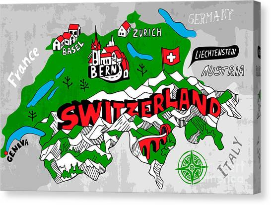 Compass Canvas Print - Illustrated Map Of Switzerland by Daria i