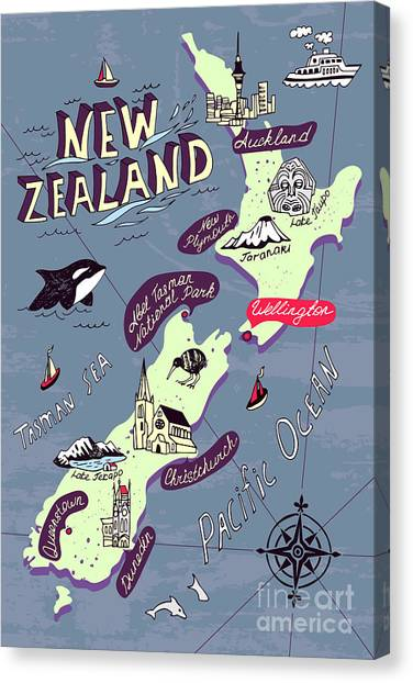 Compass Canvas Print - Illustrated Map Of The New Zealand by Daria i