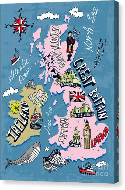 Compass Canvas Print - Illustrated Map Of The Uk And Ireland by Daria i