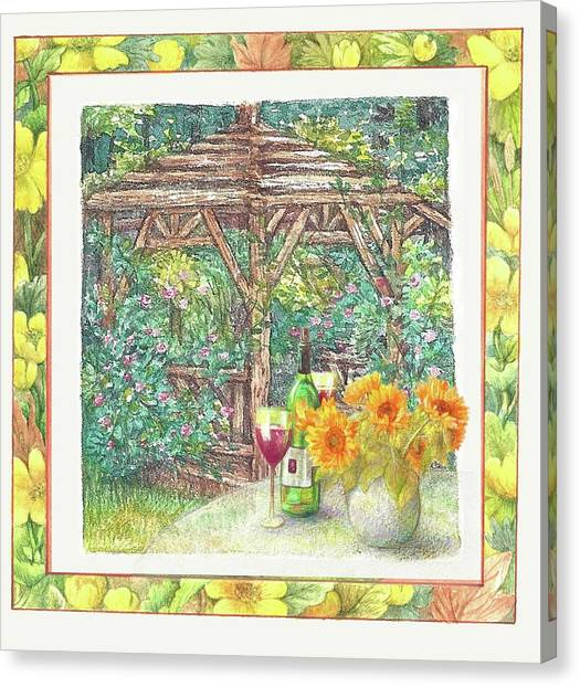 Canvas Print featuring the painting Illustrated Sunflower Picnic by Judith Cheng