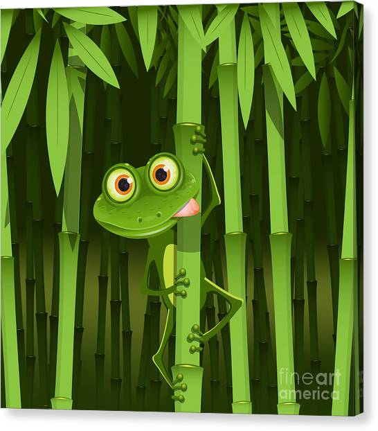 Sheet Canvas Print - Illustration, Curious Frog On Stem Of by Brux