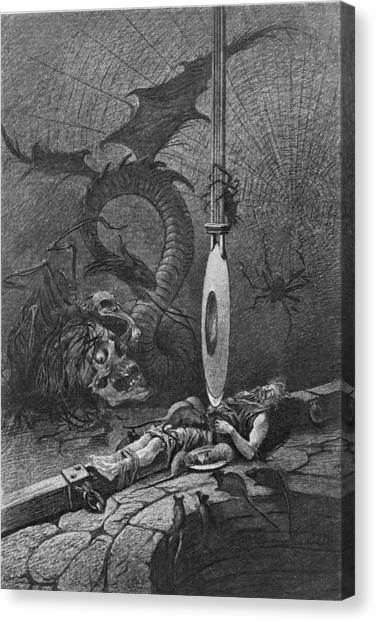 Illustration For Poes The Pit And The Canvas Print by Kean Collection