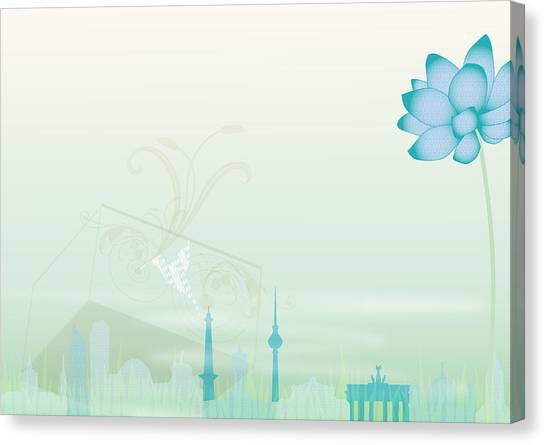 Illustration Of A Blue Flower And Canvas Print by Stock4b-rf