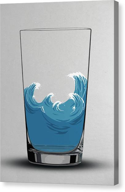 Illustration Of Choppy Waves In A Water Canvas Print