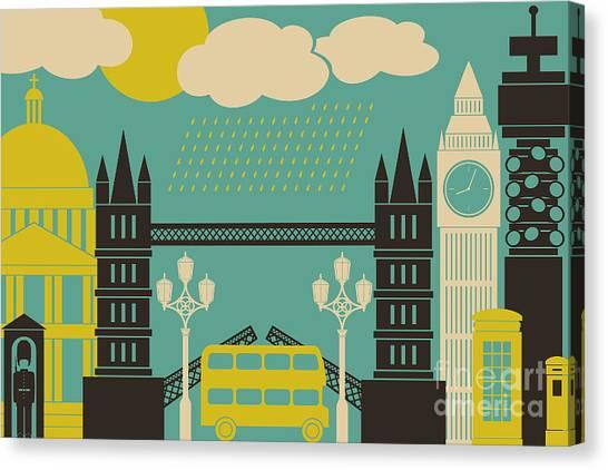 Illustration Of London Symbols And Canvas Print by Iveta Angelova