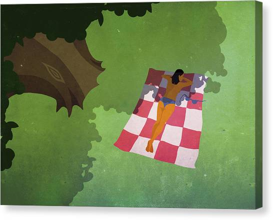 Illustration Of Woman Sunbathing At Park Canvas Print