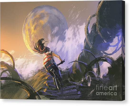 Cyclist Canvas Print - Illustration Painting Of Cyclist Riding by Tithi Luadthong