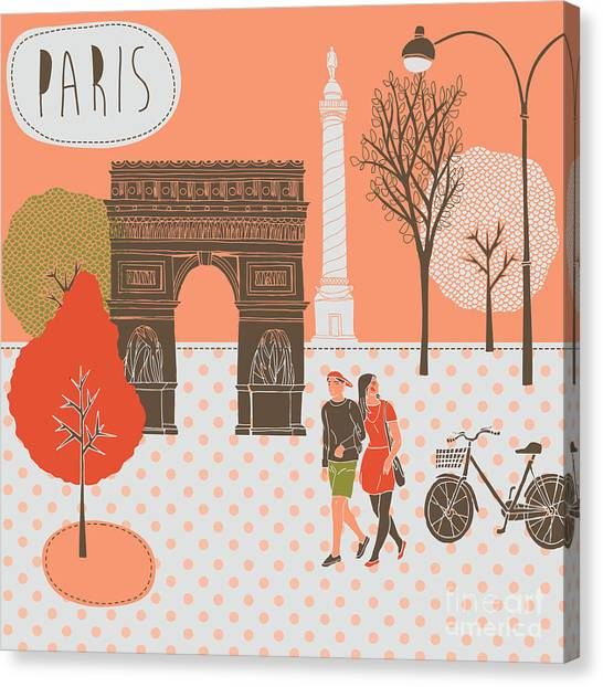 Eiffel Tower Canvas Print - Illustration With Paris, France by Lavandaart