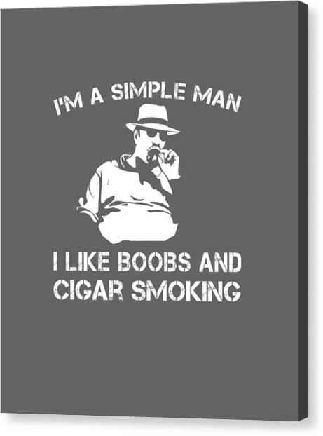 7533b604621 Long Sleeve T-shirt Canvas Print - I m A Simple Man I Like