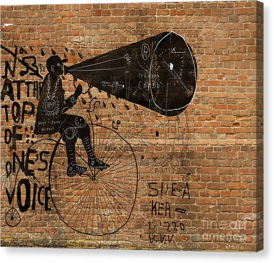 Bricks Canvas Print - Image Of A Man Who Rides A Bike And by Dmitriip