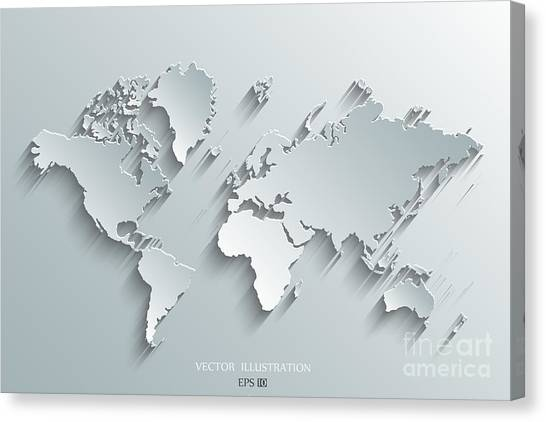 Shadow Canvas Print - Image Of A Vector World Map by Juliann