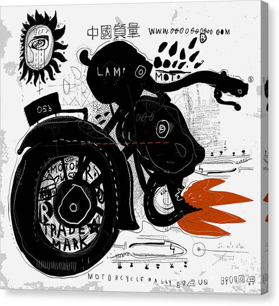 Speed Canvas Print - Image Of Motorcycle, Which Is Made In by Dmitriip