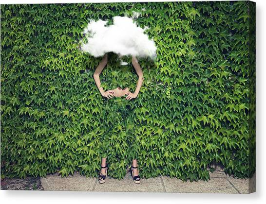 Image Of Young Woman On Ivy Plants And Canvas Print by Francesco Carta Fotografo
