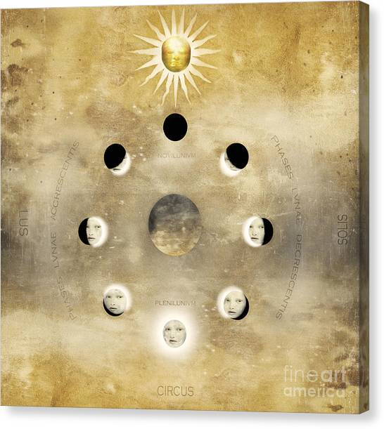 Change Canvas Print - Imagine Of The Lunar Phases With Sun by Valentina Photos