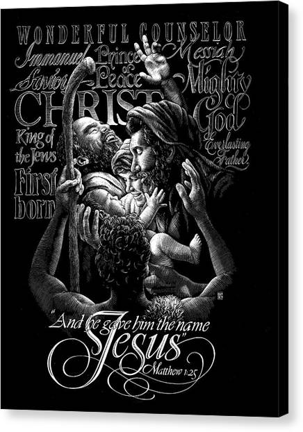 Canvas Print featuring the drawing Immanuel by Clint Hansen