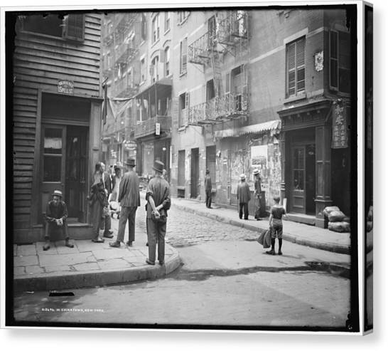 China Town Canvas Print - In Chinatown  New York 1900 by Celestial Images