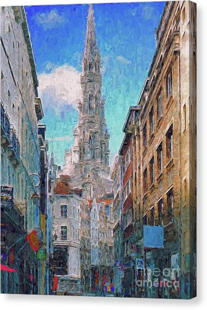 Canvas Print featuring the photograph In-spired  Street Scene Brussels by Leigh Kemp
