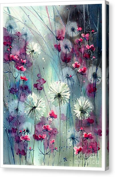 Daffodils Canvas Print - In The Night Garden - Pink Buds  by Suzann Sines