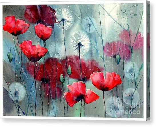 Daffodils Canvas Print - In The Night Garden - Rising Poppies by Suzann Sines