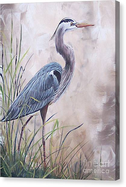 Marsh Grass Canvas Print - In The Reeds Blue Heron-36x48 by Jean Plout