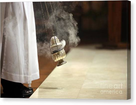 Church Canvas Print - Incense During Mass At The Altar by Wideonet