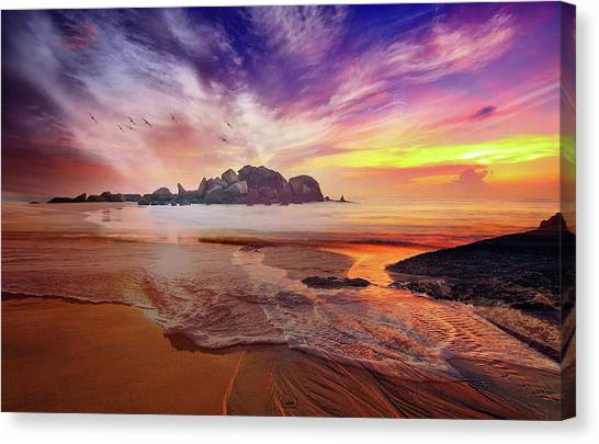 Incoming Tide At Sunset Canvas Print