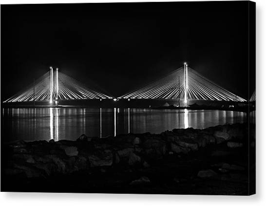 Indian River Bridge After Dark In Black And White Canvas Print