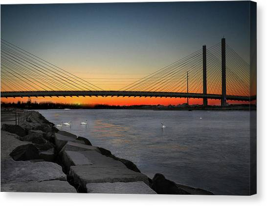 Canvas Print featuring the photograph Indian River Bridge Over Swan Lake by Bill Swartwout Fine Art Photography